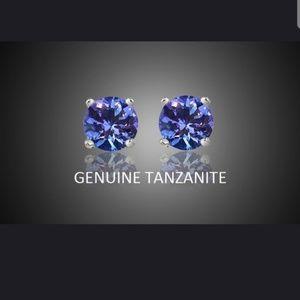 Genuine Tanzanite Round Stud Earrings